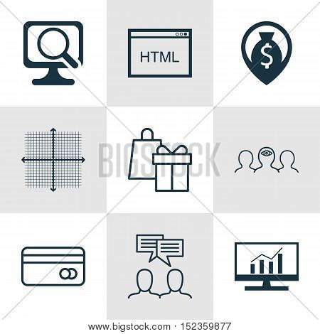 Set Of 9 Universal Editable Icons For Project Management, Seo And Computer Hardware Topics. Includes