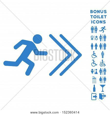 Exit Direction icon and bonus gentleman and lady restroom symbols. Vector illustration style is flat iconic symbols, cobalt color, white background.