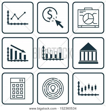 Set Of 9 Universal Editable Icons For Statistics, Project Management And Advertising Topics. Include