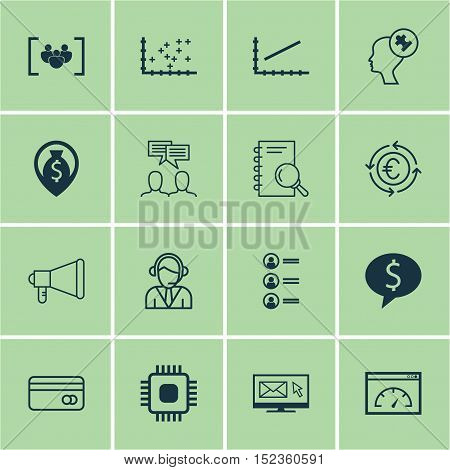 Set Of 16 Universal Editable Icons For Human Resources, Marketing And Airport Topics. Includes Icons