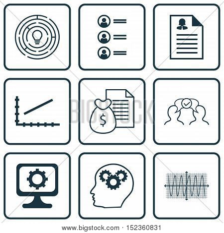 Set Of 9 Universal Editable Icons For Statistics, Business Management And Computer Hardware Topics.