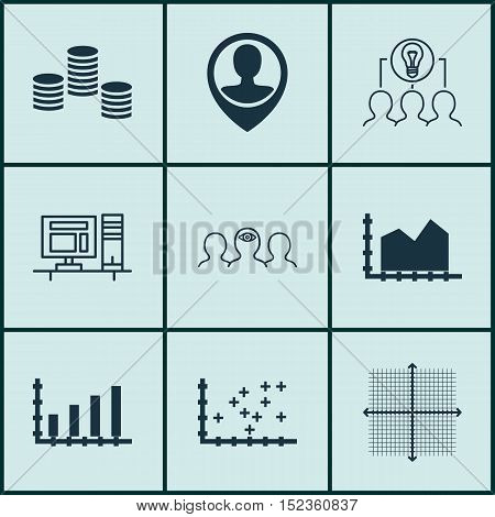 Set Of 9 Universal Editable Icons For Business Management, Statistics And Project Management Topics.