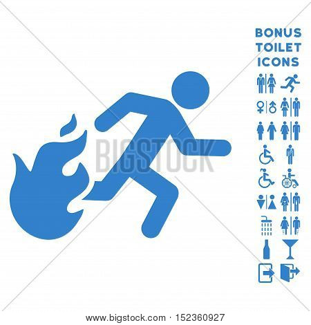 Fired Running Man icon and bonus male and woman lavatory symbols. Vector illustration style is flat iconic symbols, cobalt color, white background.