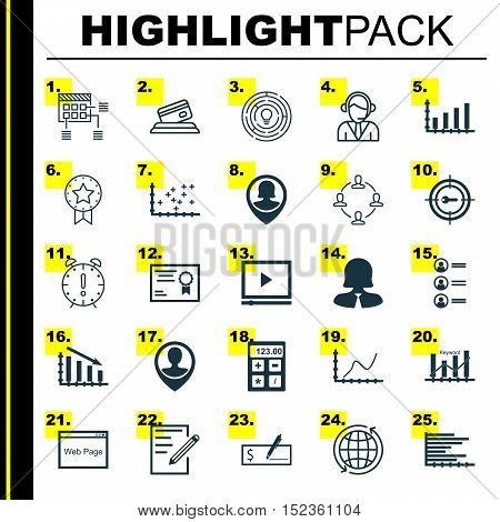 Set Of 25 Universal Editable Icons For Human Resources, Education And Statistics Topics. Includes Ic