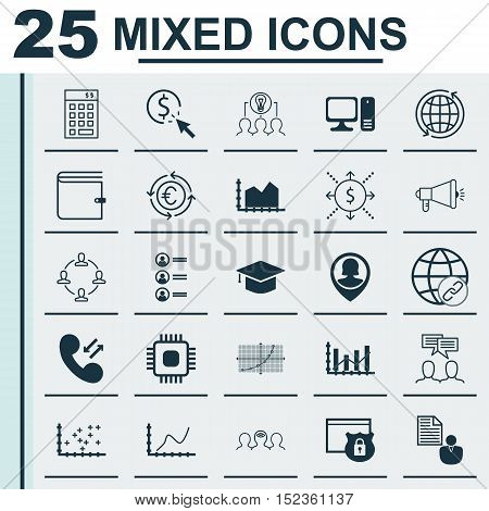 Set Of 25 Universal Editable Icons For Airport, Travel And Computer Hardware Topics. Includes Icons