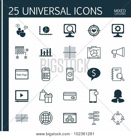 Set Of 25 Universal Editable Icons For Computer Hardware, Human Resources And Advertising Topics. In