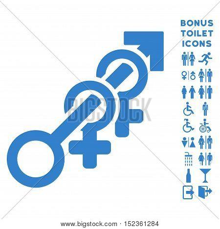 Harem icon and bonus gentleman and female toilet symbols. Vector illustration style is flat iconic symbols, cobalt color, white background.