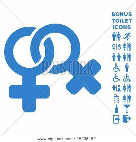 Lesbi Symbol icon and bonus gentleman and woman lavatory symbols. Vector illustration style is flat iconic symbols, cobalt color, white background.