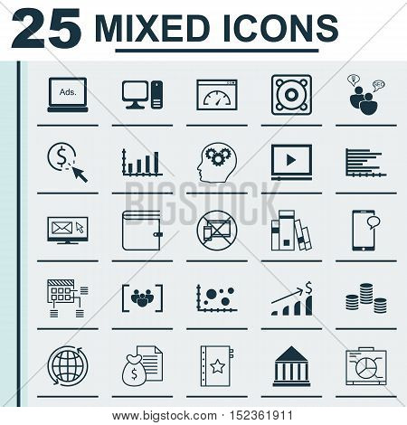Set Of 25 Universal Editable Icons For Statistics, Human Resources And Marketing Topics. Includes Ic
