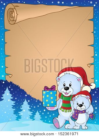 Parchment with Christmas bears theme 2 - eps10 vector illustration.