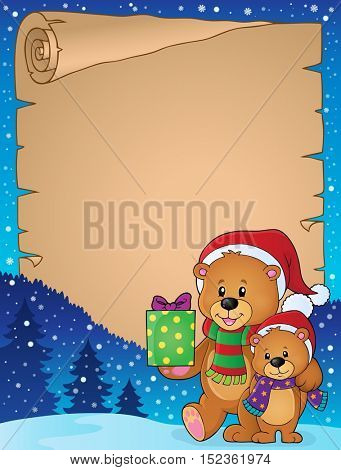 Parchment with Christmas bears theme 1 - eps10 vector illustration.