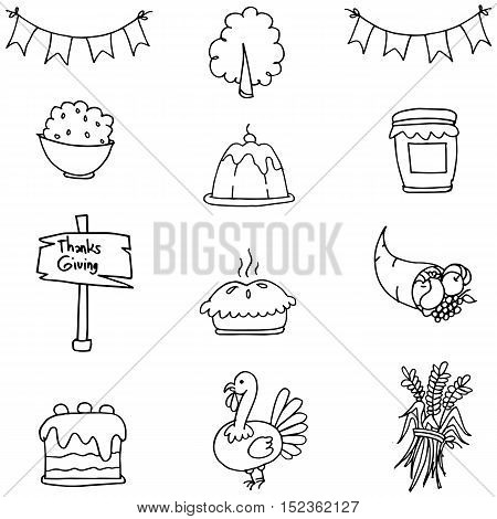 Doodle of thanksgiving set element vector art
