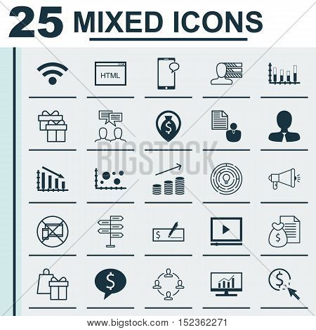 Set Of 25 Universal Editable Icons For Statistics, Computer Hardware And Advertising Topics. Include