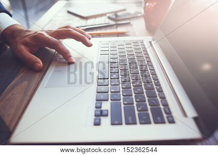 Computer software development process. Presentation, business correspondence, science research and new technologies concept.