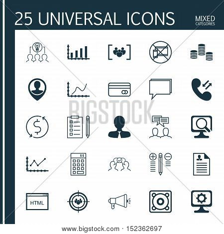 Set Of 25 Universal Editable Icons For Project Management, Business Management And Advertising Topic