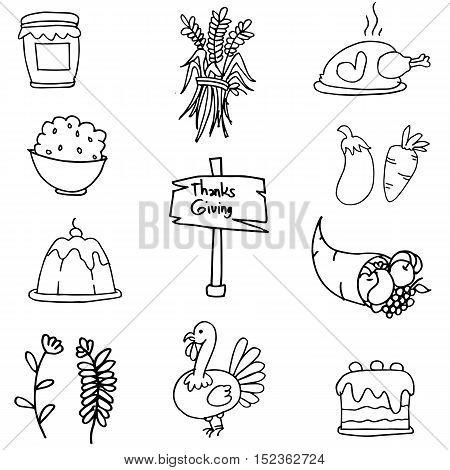 Thanksgiving set doodles hand draw vector art