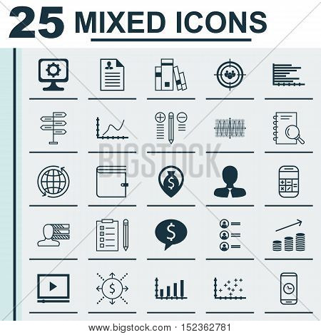 Set Of 25 Universal Editable Icons For Human Resources, Project Management And Education Topics. Inc