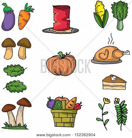Thanksgiving set element on doodles vector art