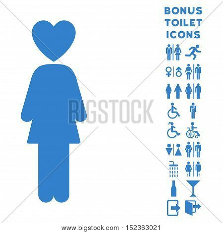 Lover Woman icon and bonus gentleman and lady toilet symbols. Vector illustration style is flat iconic symbols, cobalt color, white background.