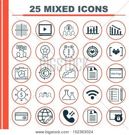 Set Of 25 Universal Editable Icons For Business Management, Advertising And Seo Topics. Includes Ico