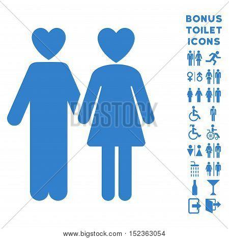 Lovers icon and bonus man and female lavatory symbols. Vector illustration style is flat iconic symbols, cobalt color, white background.
