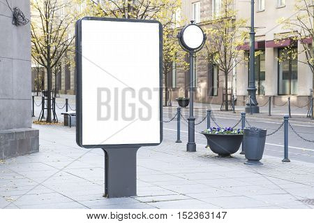 Mock up. Outdoor advertising, blank billboard outdoors, public information board in the city. Copy space for your text message or content