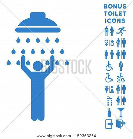 Man under Shower icon and bonus gentleman and woman lavatory symbols. Vector illustration style is flat iconic symbols, cobalt color, white background.