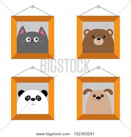 Dog bear cat panda head. Picture frame hanging on the wall. Cute cartoon character set. Pet forest wildlife animal baby collection. Isolated. White background. Flat design. Vector illustration