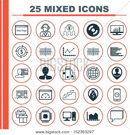 Set Of 25 Universal Editable Icons For Business Management, Airport And Computer Hardware Topics. In