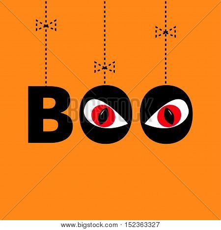 Hanging word BOO text with red eyes. Evil eyeballs. Dash line thread bow. Happy Halloween. Greeting card. Flat design. Orange background. Vector illustration