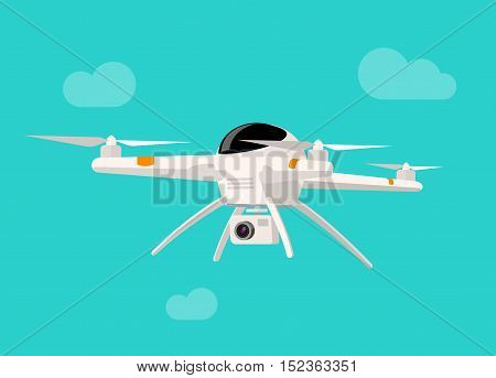 Flying drone with camera vector illustration isolated on blue sky background, flat cartoon modern drone