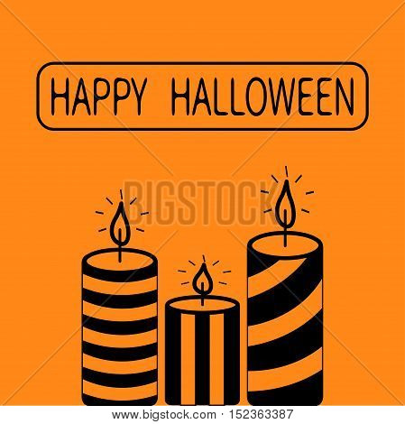 Striped candle set. Happy Halloween Greeting card. Flat design. Orange background. Vector illustration