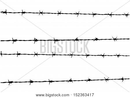 Vector Barbed Wire isolated in white background