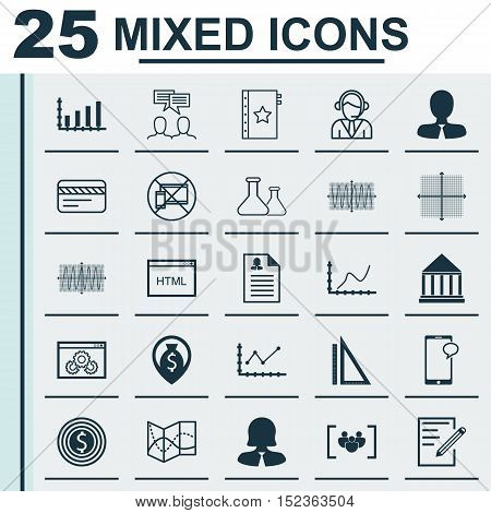 Set Of 25 Universal Editable Icons For Education, Travel And Airport Topics. Includes Icons Such As