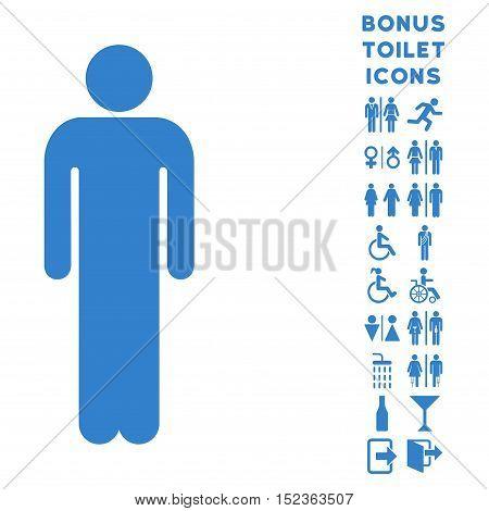 Man icon and bonus man and lady restroom symbols. Vector illustration style is flat iconic symbols, cobalt color, white background.