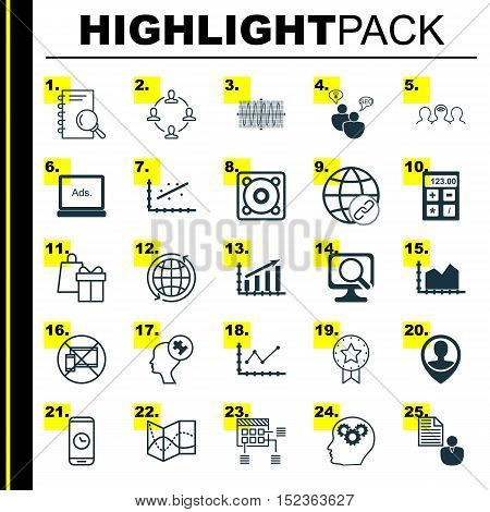 Set Of 25 Universal Editable Icons For Marketing, Computer Hardware And Education Topics. Includes I