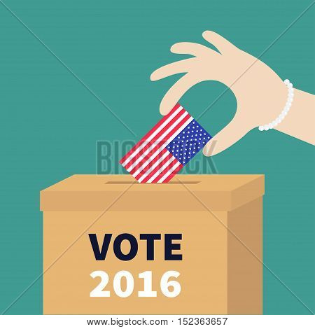 Ballot Voting box Woman holding American flag paper blank bulletin concept. Polling station. President election day Vote 2016. Isolated Green background Flat design Card Vector illustration