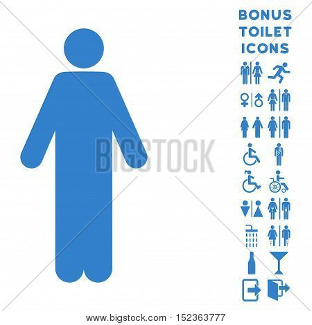 Man icon and bonus gentleman and woman lavatory symbols. Vector illustration style is flat iconic symbols, cobalt color, white background.