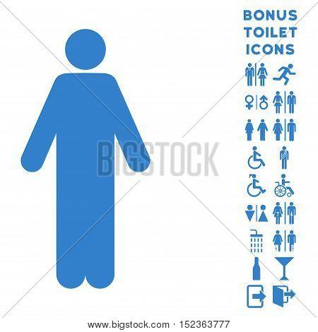 Man icon and bonus gentleman and woman lavatory symbols. Vector illustration style is flat iconic symbols, cobalt color, white background.