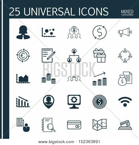 Set Of 25 Universal Editable Icons For Statistics, Airport And Computer Hardware Topics. Includes Ic