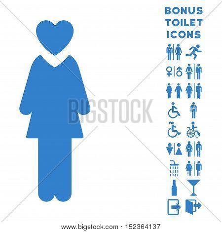Mistress icon and bonus man and lady WC symbols. Vector illustration style is flat iconic symbols, cobalt color, white background.
