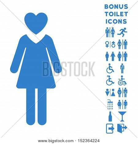 Mistress icon and bonus gentleman and woman WC symbols. Vector illustration style is flat iconic symbols, cobalt color, white background.