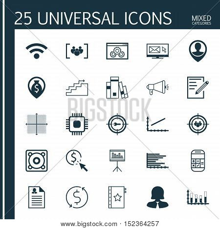 Set Of 25 Universal Editable Icons For Advertising, Statistics And Airport Topics. Includes Icons Su