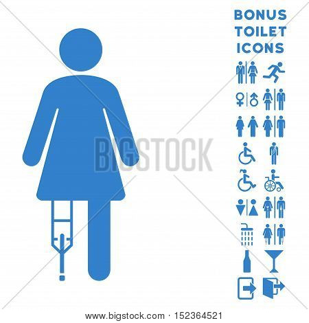 Patient Woman icon and bonus man and lady toilet symbols. Vector illustration style is flat iconic symbols, cobalt color, white background.