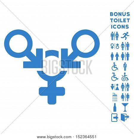 Polyandry icon and bonus man and lady restroom symbols. Vector illustration style is flat iconic symbols, cobalt color, white background.