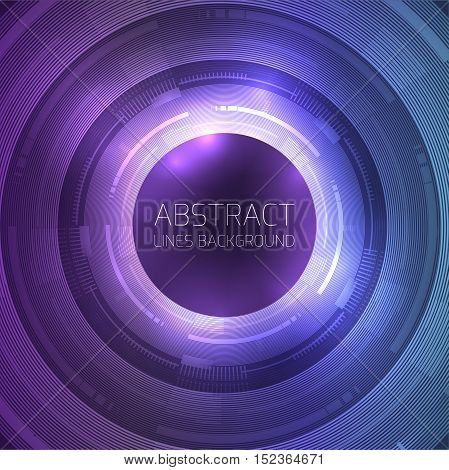 Round template with abstract technology background and place for text. Vector element for presentations postcards and your design