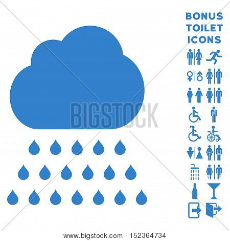 Rain Cloud icon and bonus gentleman and lady restroom symbols. Vector illustration style is flat iconic symbols, cobalt color, white background.