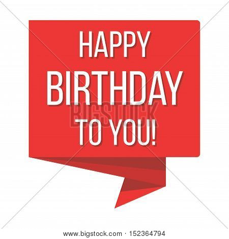 Happy birthday red banner vector illustration. Flat poster for holiday