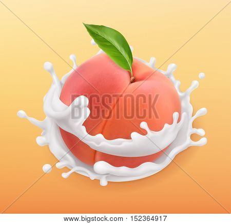 Peach and milk splash. Fruit and yogurt. Realistic illustration. 3d vector icon