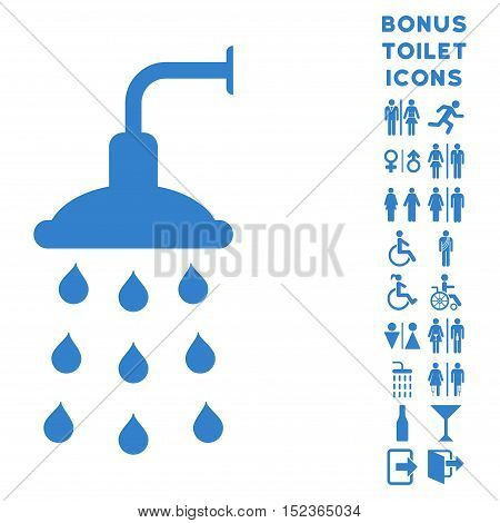 Shower icon and bonus gentleman and lady toilet symbols. Vector illustration style is flat iconic symbols, cobalt color, white background.